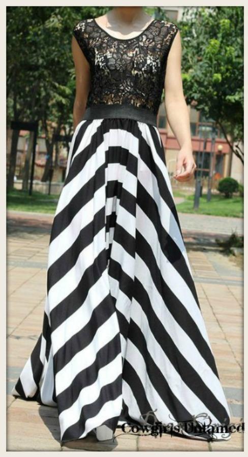 f9326b4007d720 Black and White Stripe Skirt Black Lace Sleeveless Top Maxi Dress ...
