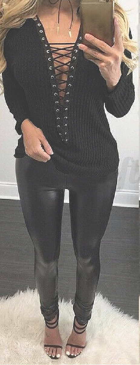 THE JOLENE SWEATER Deep V Lace Up Long Sleeve Ribbed Black Womens Pullover Sweater