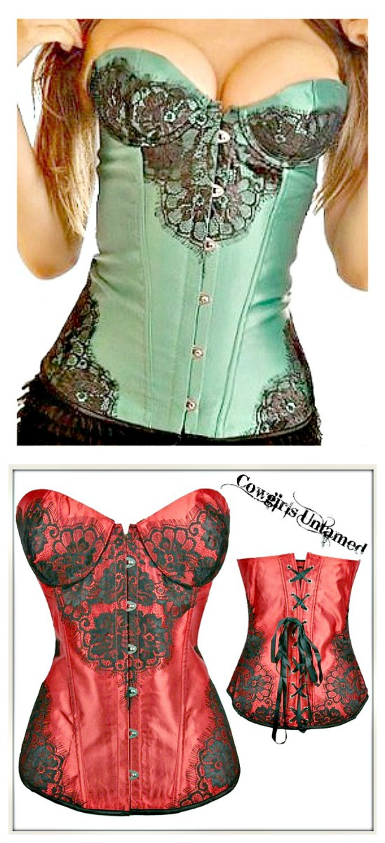 CORSET - Black Lace on Satin Lace Up Back Corset Top