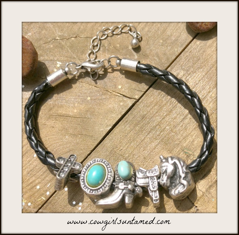 COWGIRL STYLE BRACELET Silver Western Charm Black Braided Leather Bracelet