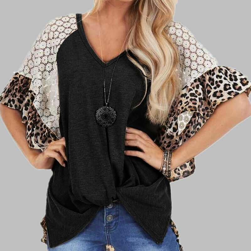 THE CHARLENE TOP Brown Leopard Ruffle White Lace Short Sleeve Knot Front High Low Black Top