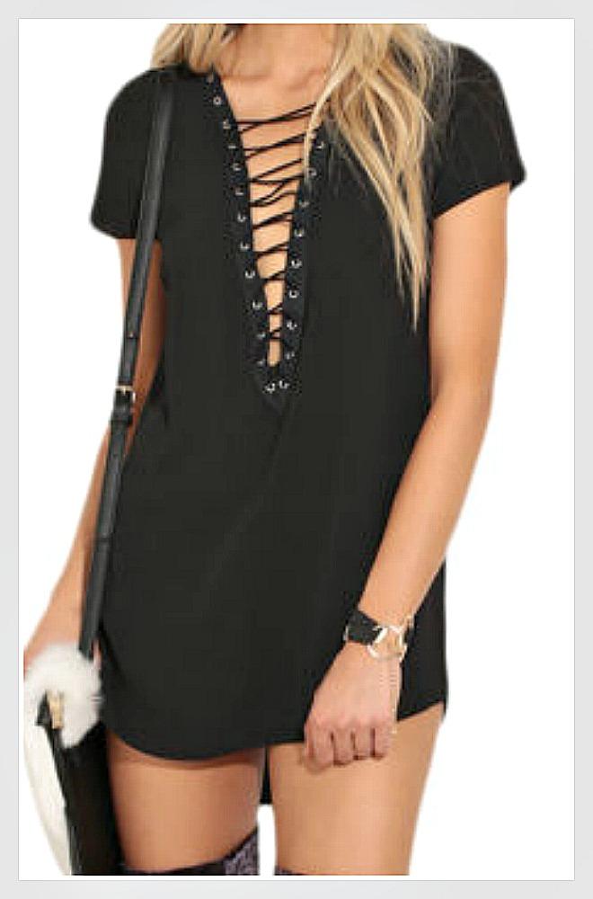 COWGIRLS ROCK DRESS Black Deep V Lace Up High Neckline Short Sleeve Black Tunic Top/ Mini Dress