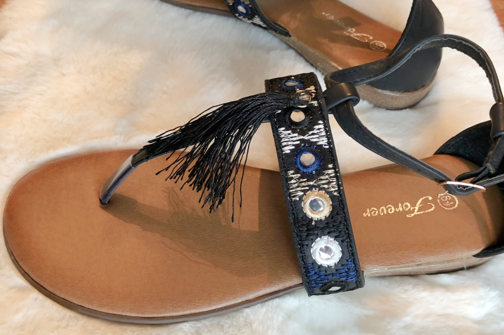 BOHO COWGIRL SANDALS Black Tassel Navy, Silver & Beige Mirror Strappy Womens Faux Leather Sandals