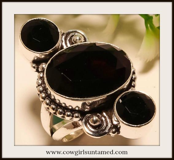 COWGIRL GYPSY RING Black Onyx 925 Sterling Silver Ring