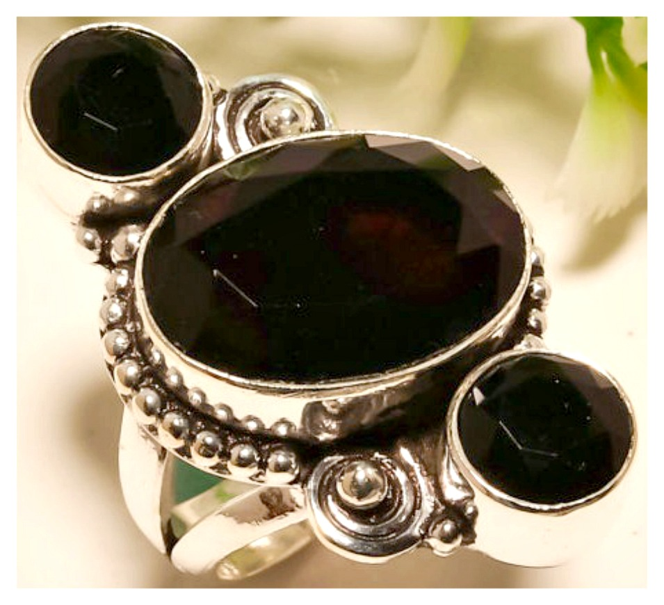 COWGIRL GYPSY RING Black Onyx 925 Large Sterling Silver Ring
