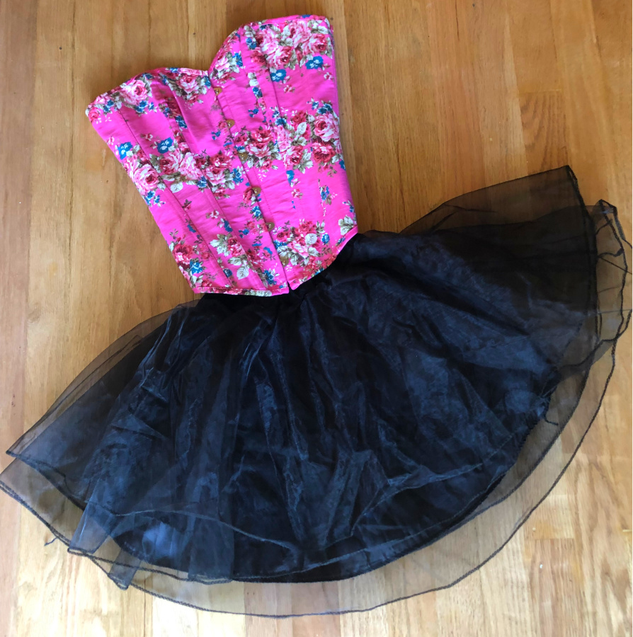 COWGIRL GYPSY SKIRT Black Organza Double Layer Elastic Waist Lined Full Short Mini Skirt LAST ONE S/M