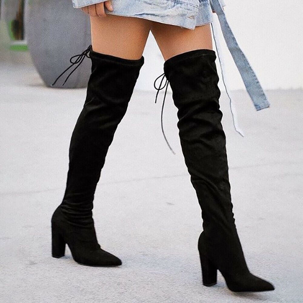 TIE IT UP BOOTS Black Tie Back Over the Knee Sexy Womens Faux Suede Black Heel Boots 6-9
