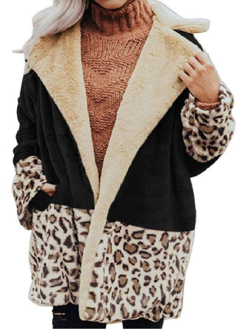 BE WILD COAT Black Cream Brown Leopard Cozy Polar Fleece Oversized Womens Coat Jacket LAST ONE Blk S/M