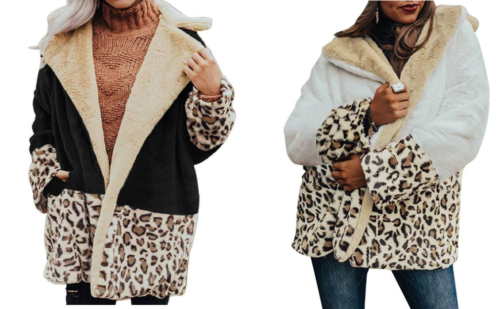 BE WILD COAT Black Cream Brown Leopard Cozy Polar Fleece Oversized Womens Coat Jacket S-XL 2 COLORS