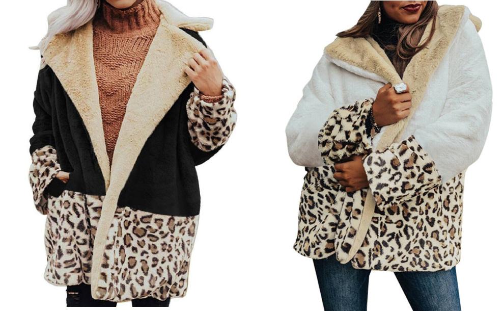 BE WILD COAT Black Cream Brown Leopard Cozy Polar Fleece Oversized Womens Coat Jacket LAST ONE Blk S