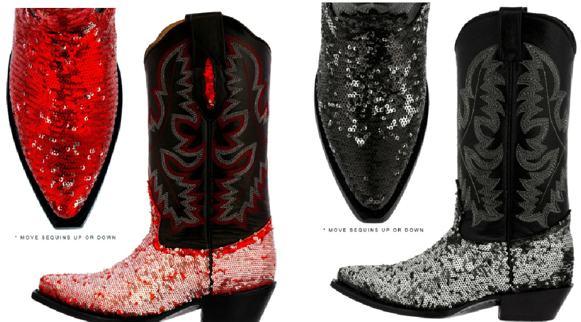 BLING COWGIRL BOOTS Red or Black Flip Sequin Embroidered Black Genuine Leather Cowgirl Boots SIZES 5-11