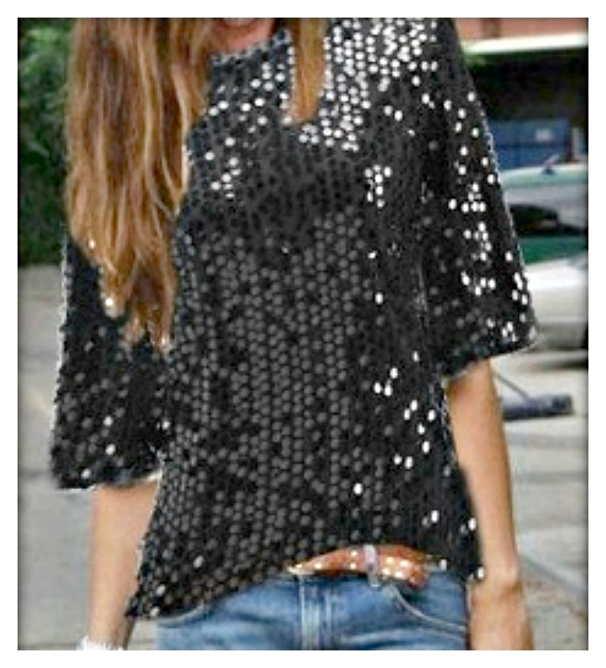 TOUCH OF GLAM TOP Black Short Sleeve Sequin Lined Loose Top LAST ONE L/XL