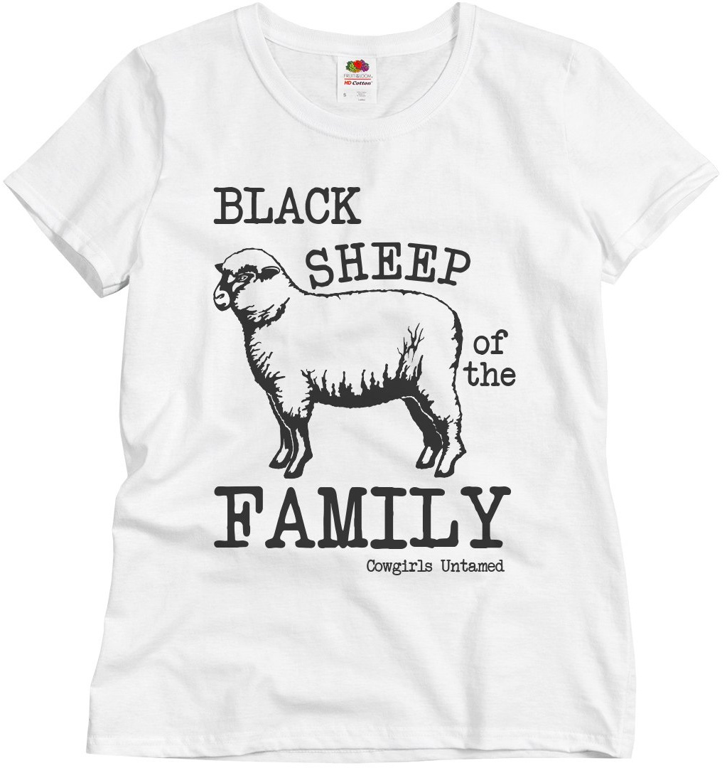 "THE REBEL TEE ""Black Sheep of the Family"" Animal Sheep Print White Short Sleeve Womens T-Shirt Top S-XL 2 STYLES"