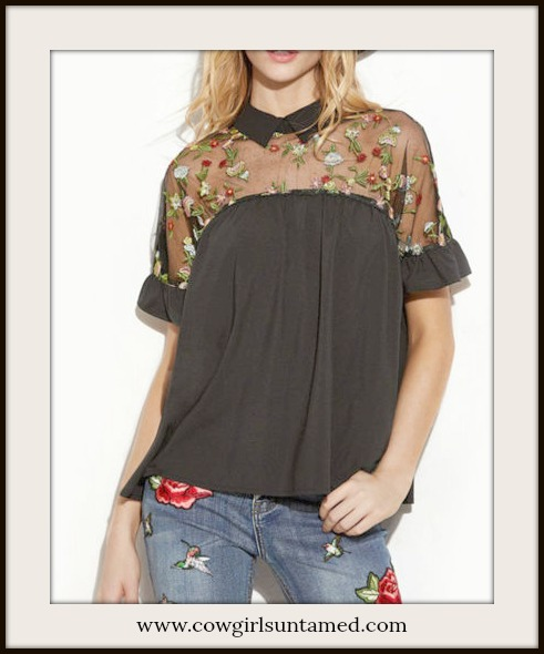 BOHEMIAN COWGIRL TOP Floral Embroidered Sheer Shoulders Short Sleeve Black Blouse