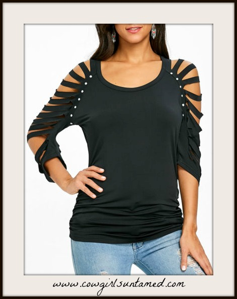 COWGIRLS ROCK TOP Slashed 3/4 Sleeve Studded Black Top