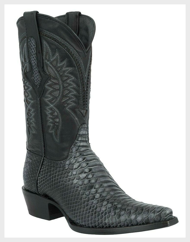 COWBOY BOOTS Men's Genuine Black Python Snake Skin Exotic Black Western Boots Sizes 6-13.5