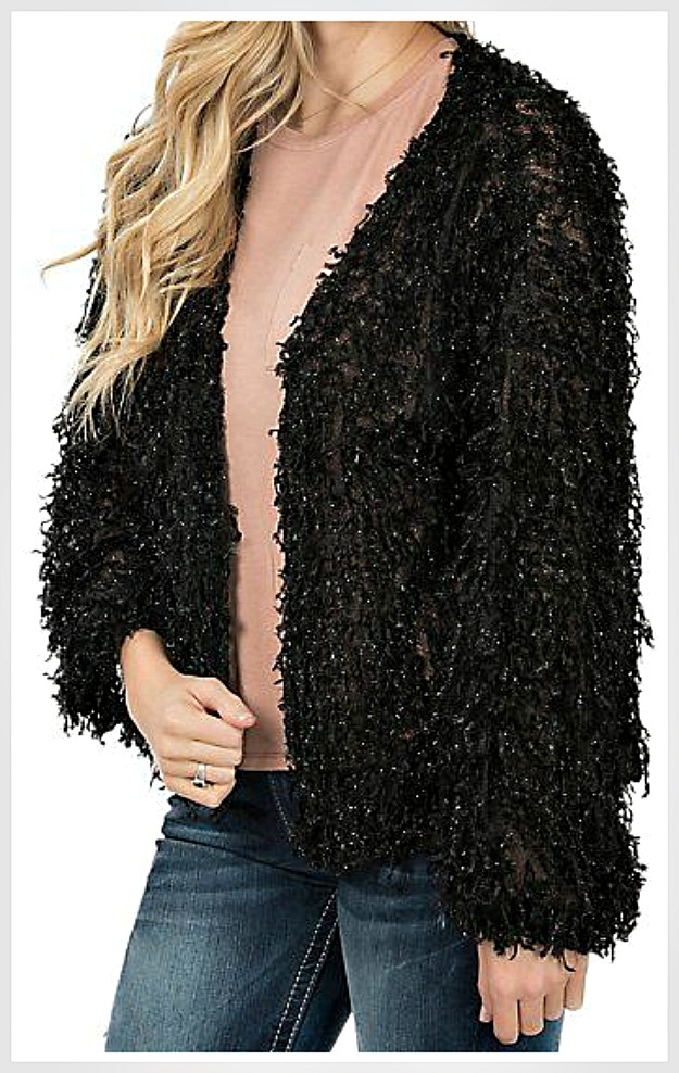 SPARKLE ME JACKET Sparkly Black Fuzzy Fur Style Long Sleeve Oversized Open Jacket Cardigan LAST ONE M