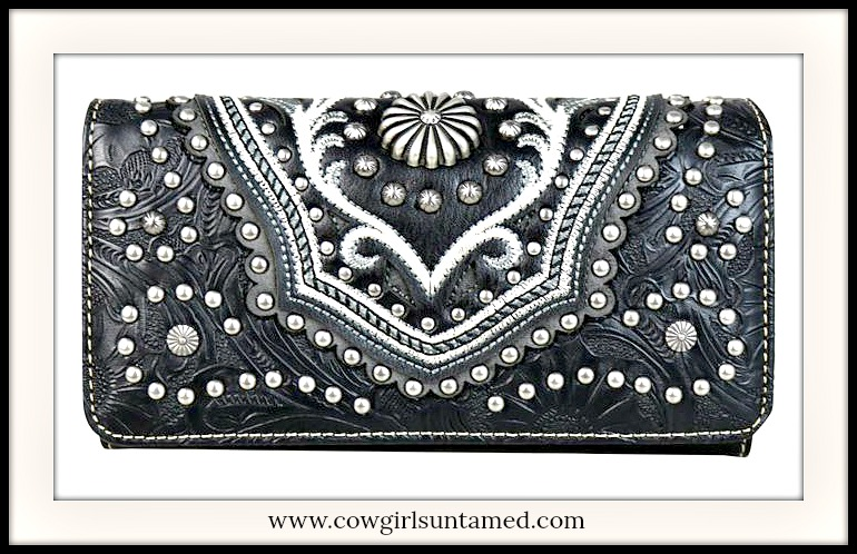 COWGIRLS ROCK WALLET Silver Studded Black Leather Trifold Wallet / Wristlet