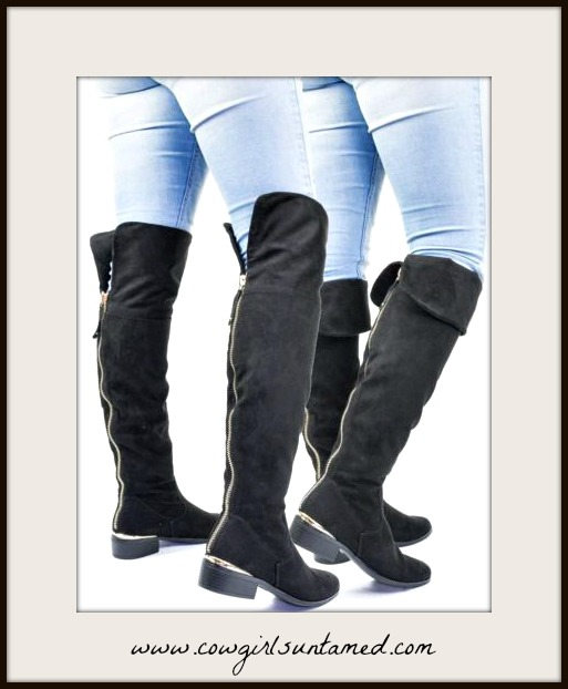 WILDFLOWER BOOTS 2 Styles in 1 Faux Suede Zipper Back Fur Lined Riding Boots