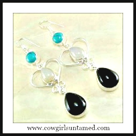 COWGIRL GYPSY EARRINGS Black Onyx & Turquoise STERLING SILVER Earrings