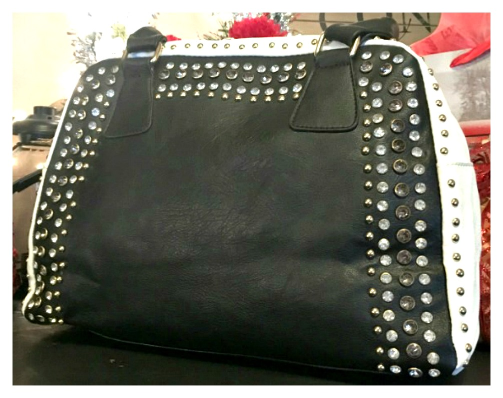 DESIGNER HANDBAG Rhinestone Studded Black and White Handbag
