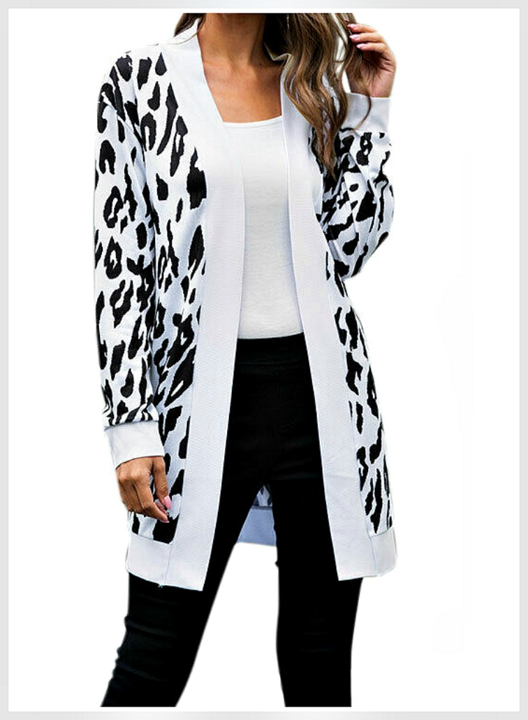 ON THE PROWL CARDIGAN Black & White Leopard Print Open Long Sleeve Long Cardigan S-L