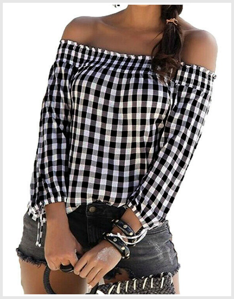 THE JENNI TOP Black & White Checked Plaid 3/4 Sleeve Off the Shoulder Loose Fit Blouse