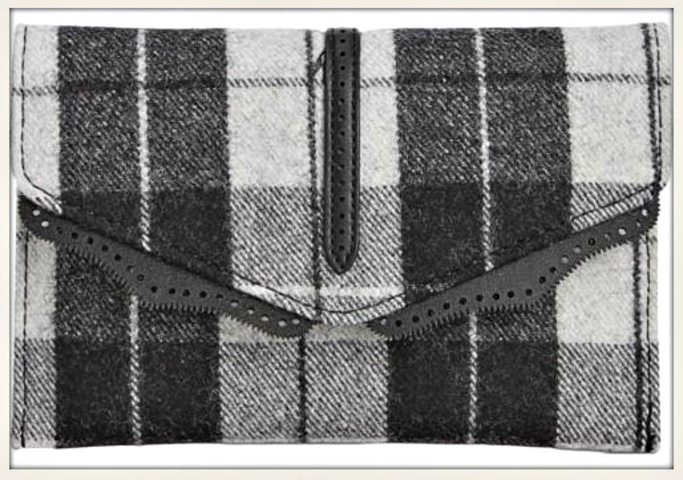 DESIGNER HANDBAG Off White & Black Plaid Designer Small Cross Body/ Messenger Bag/Clutch
