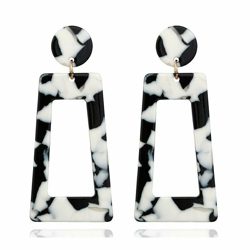 RETRO CHIC EARRINGS Black & White Leopard Print Rectangular Acrylic Dangle Earrings