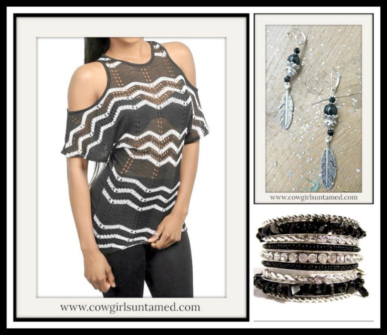 78f69f3987933f Black   White Chevron Stripe Cut Out Shoulder Short Sleeve Knit ...