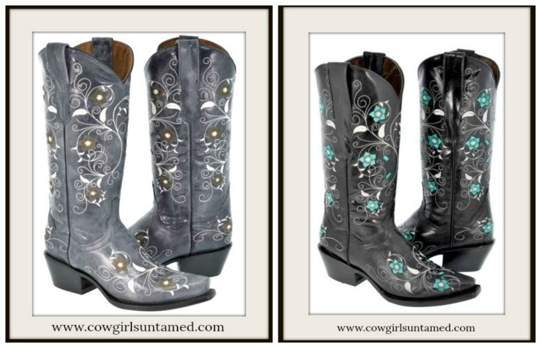 WILDFLOWER BOOTS Embroidered Floral GENUINE LEATHER Cowgirl Boots