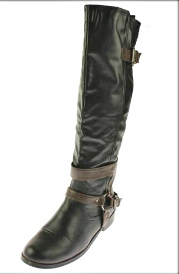 BUCKLE UP BOOTS Brown Harness Strap Tall Black Faux Leather Riding Boots SIZE 8 LEFT