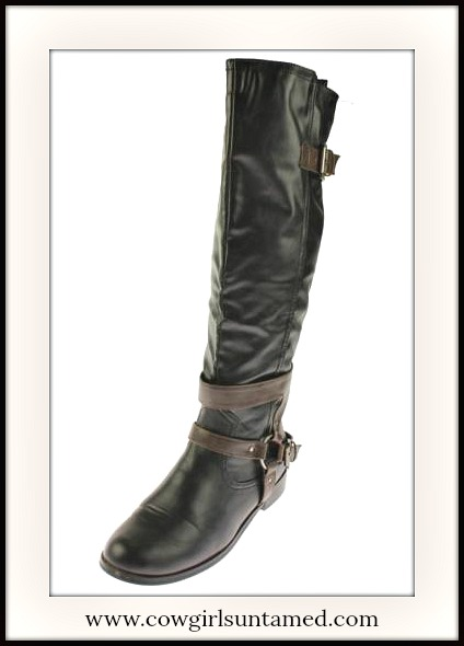 BUCKLE UP BOOTS Brown Harness Strap Tall Black Faux Leather Riding Boots