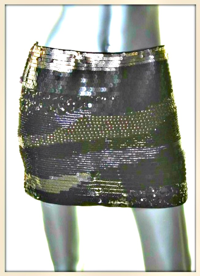 TOUCH OF GLAM SKIRT Black and Silver Metallic Paillettes Sequin Designer Mini Skirt