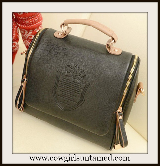 COWGIRL GLAM BAG Crown Double Side Zipper Black and Tan Leather Handbag