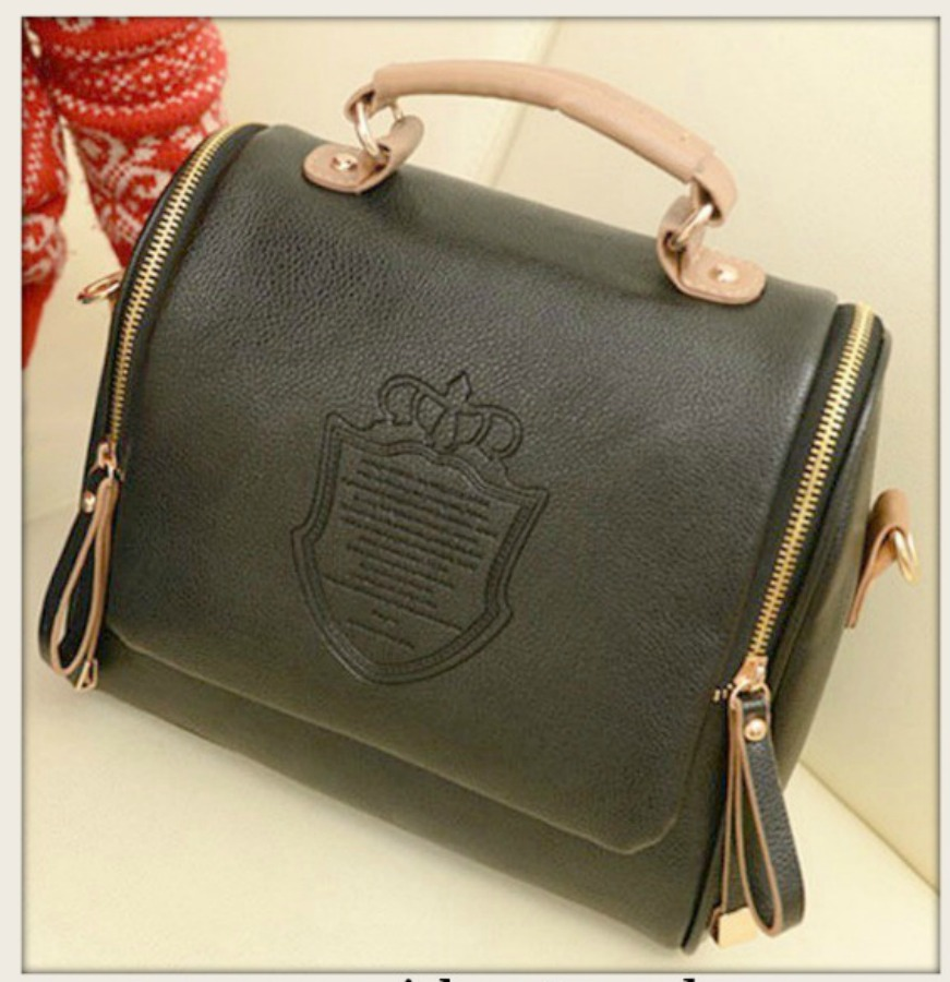TOUCH OF GLAM BAG Crown Double Side Zipper Black and Tan Leather Handbag