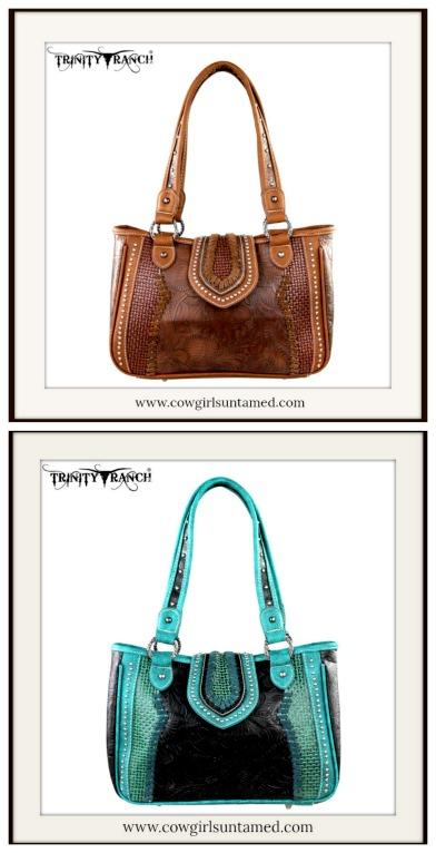 COWGIRL GYPSY HANDBAG Tooled & Basketweave Leather Handbag