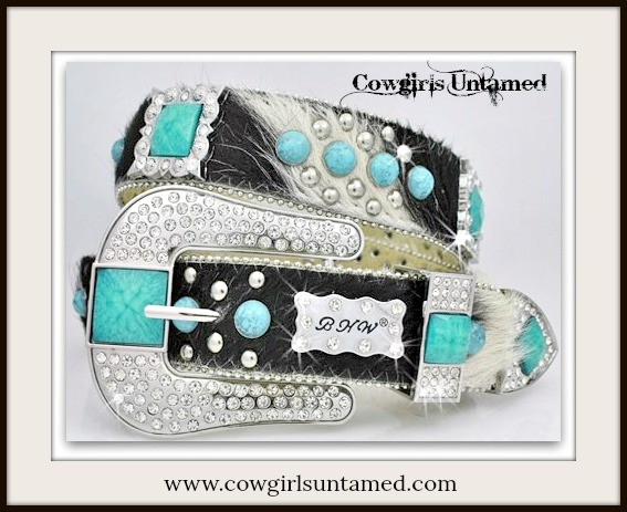 COWGIRL STYLE BELT Turquoise N Rhinestone Concho Studded Hair on Hide Belt