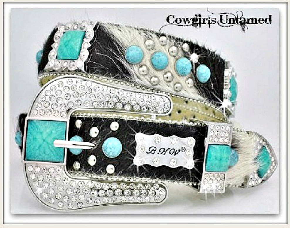 COWGIRL STYLE BELT Turquoise N Rhinestone Concho Studded Hair on Hide Belt LAST ONE Medium