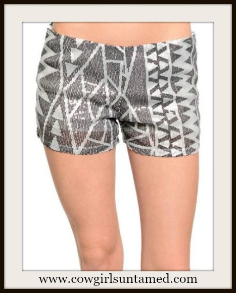 COWGIRL GYPSY SHORTS Black and Silver Aztec Sequin Boho Shorts