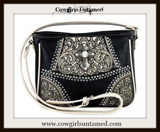 WESTERN COWGIRL HANDBAG Antique Silver N Turquoise Cross on Black & White Messenger Bag