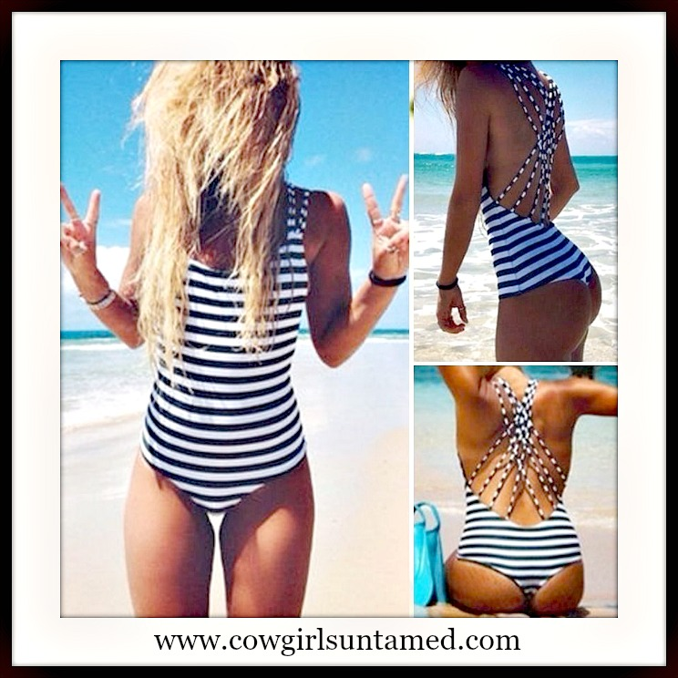 SEXY SWIMWEAR Black & White Striped Strappy Back One Piece Swimsuit