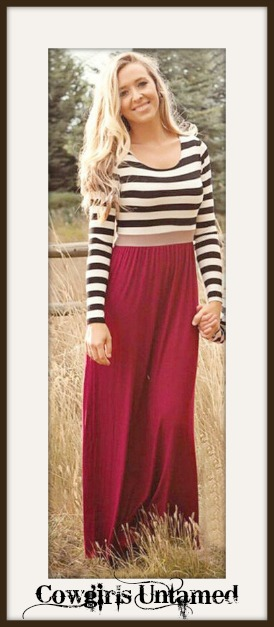 WILDFLOWER DRESS Black & White Striped Long Sleeve and Red Skirt Maxi Dress
