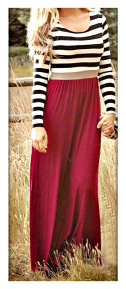 WILDFLOWER DRESS Black & White Striped Long Sleeve and Red Skirt Maxi Dress LAST ONE SIZE S