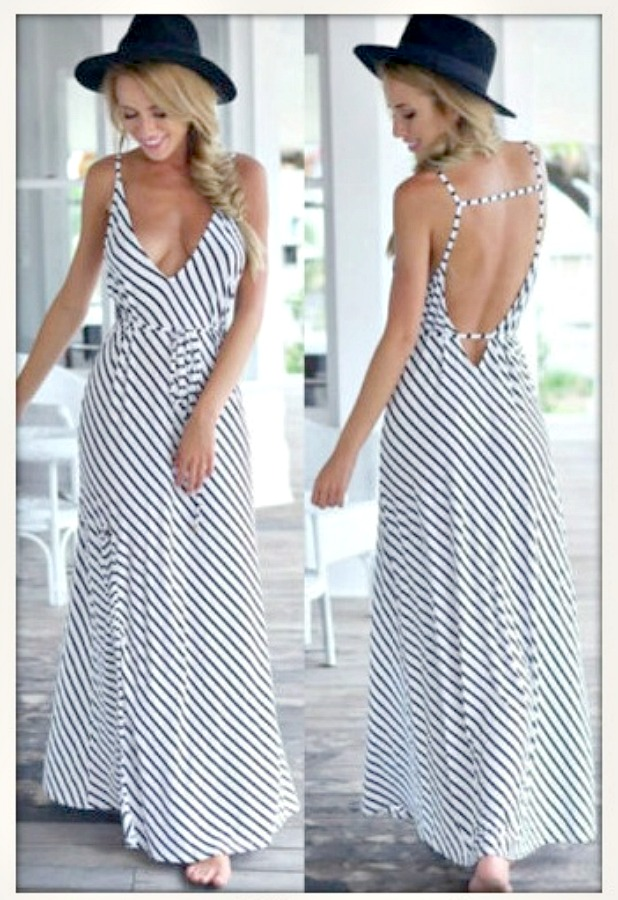 NeckBlack Maxi Gypsy And White V Black Cowgirl Strap Boho Spaghetti Neck DressBohoLong Sexy Dress Deep zUMSVpq