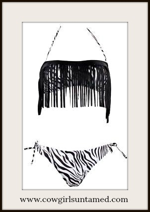 COWGIRL GYPSY BIKINI Black and White Zebra with Black Fringe String Bikini