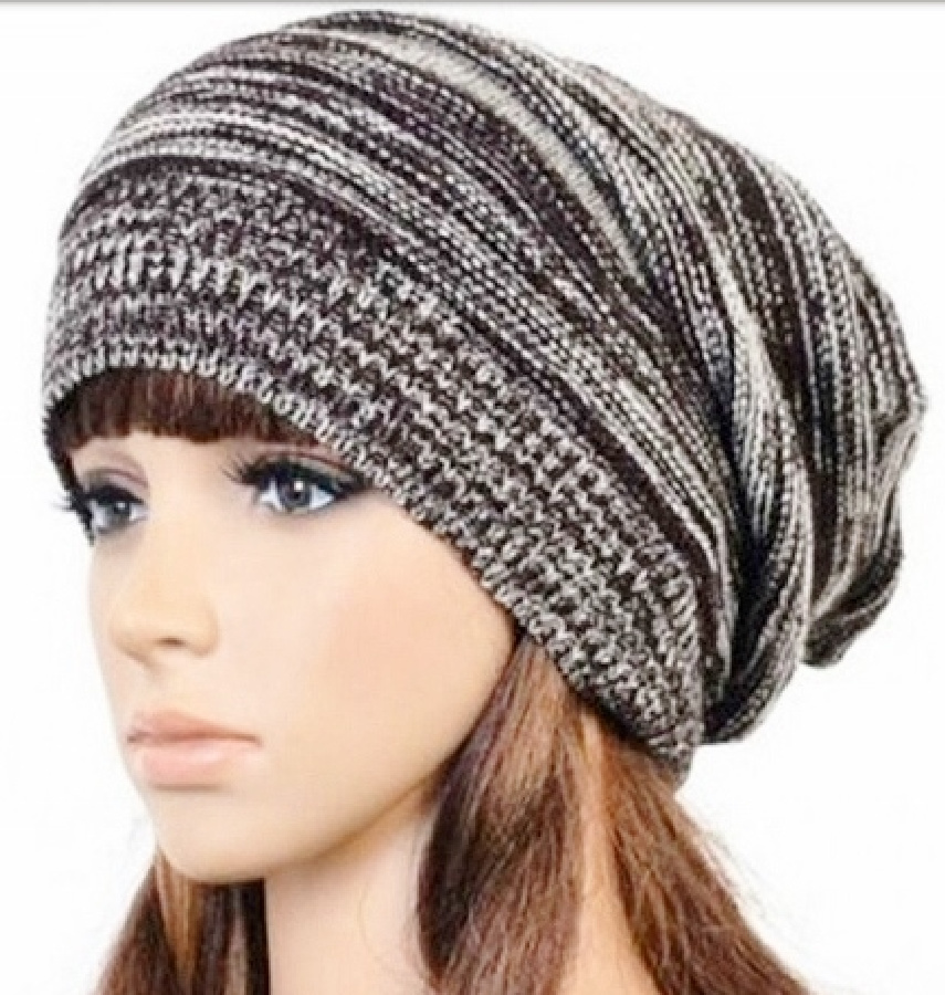 BEANIE CAP Grey & Black Slouch Womens Winter Boho Knit Cap