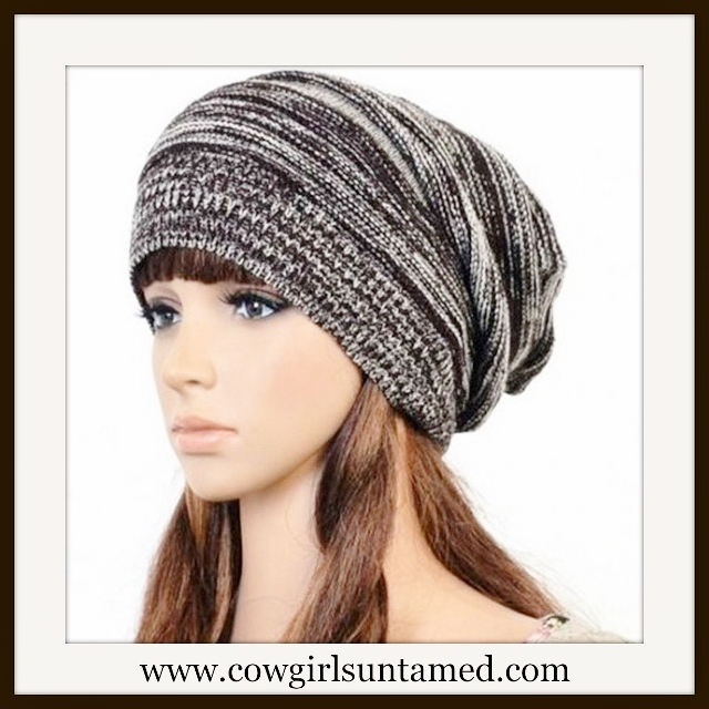 BEANIE CAP  Grey and Black Slouch Knit Cap