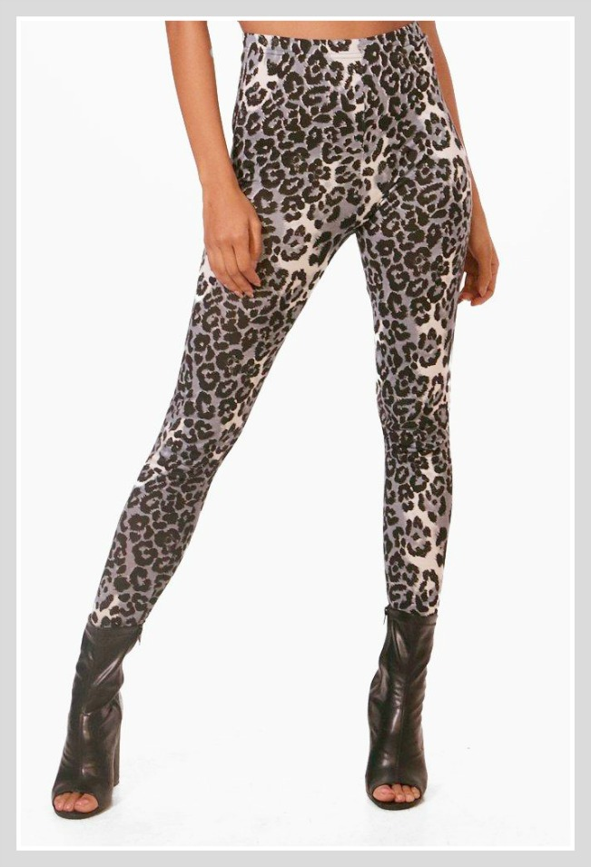 ON THE PROWL LEGGINGS Black and Grey Leopard Leggings Pants