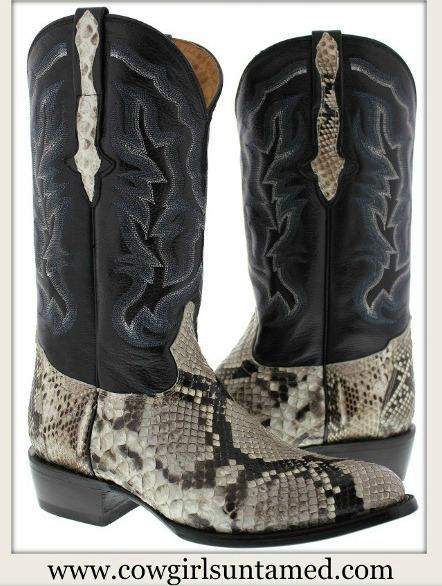COWBOY BOOTS Men's Genuine Python Snake Skin Exotic Western Boots